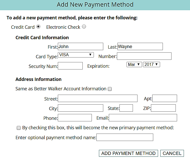 BetterWalker Payment Method