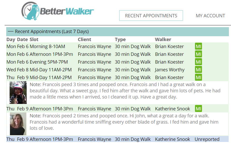 BetterWalker Recent Appointments